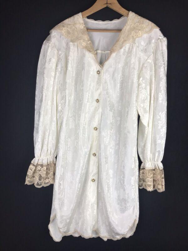 Vtg 1980s Barbizon Negligee Nightgown XL Romantic Ivory White Bridal Lace bi