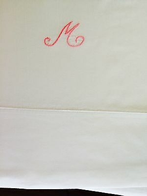 """84""""x96"""" initial M hand embroidered vintage Percale cotton sheet laundered by me"""