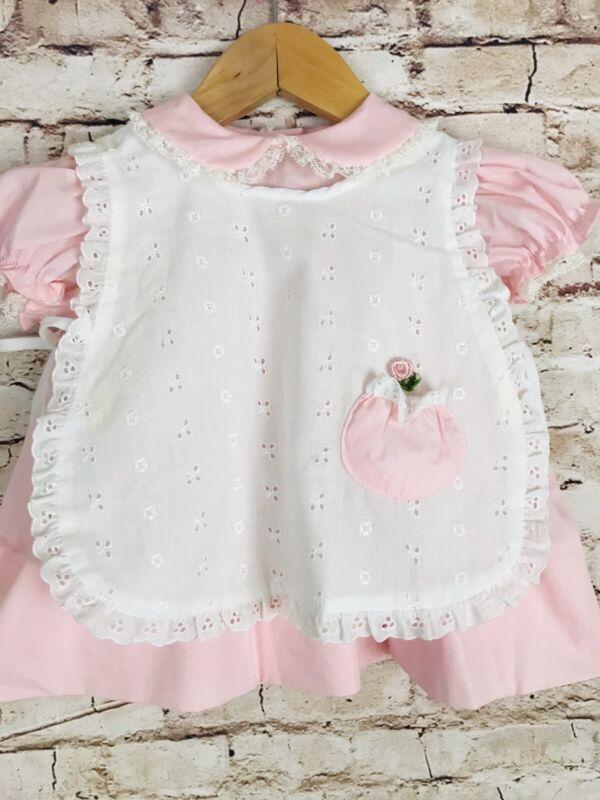 Vintage Alexis Pink Baby Dress White Eyelet Lace Apron 2 Pieces 12mo