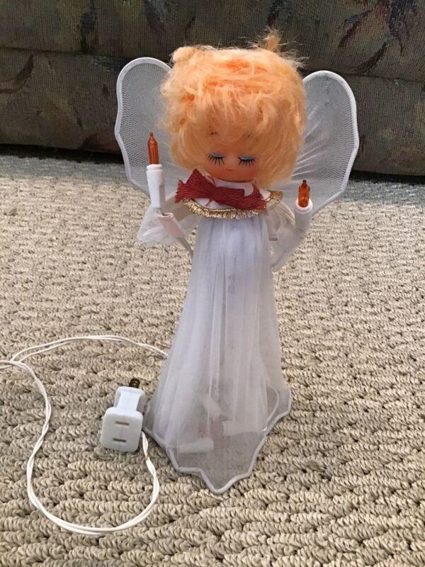 Vintage -Blonde Hair Plastic Doll Head Angel Multi Lighted Christmas Tree Topper