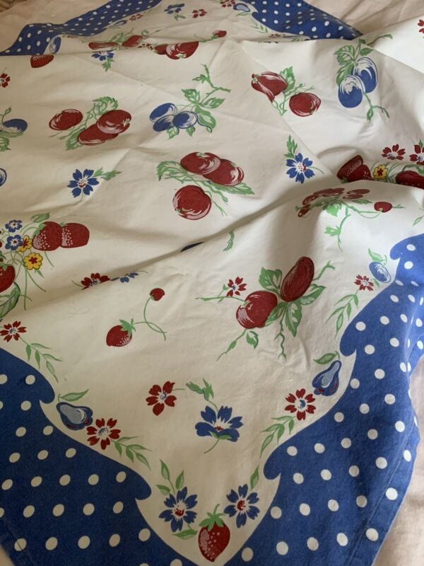 Cheerful Vintage Hand Printed COTTON Floral TABLECLOTH ~ 48 X 50! Excellent