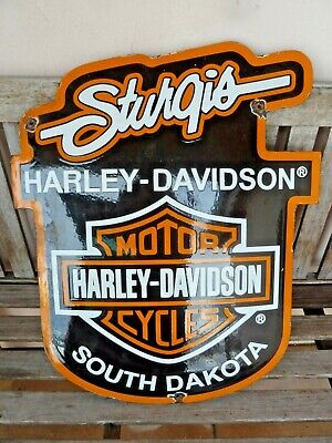 "STURGIS HARLEY Porcelain Sign Advertising 24"" Collectible Vintage Motorcycle USA"