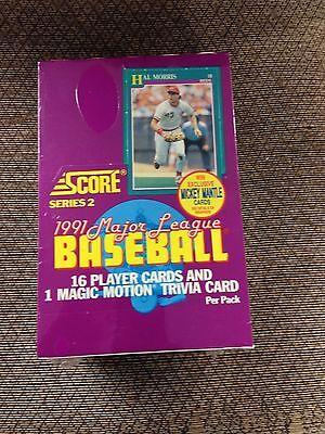 1991 Score Series 2 Sealed Wax Box Baseball Cards 36 Packs Jones Rc Mantle Auto