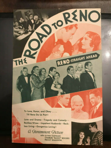 "The Road To Reno 1931 Paramount 6x9"" herald Charles ""Buddy"" Rogers Peggy Shannon"