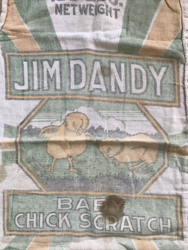 Vtg Jim Dandy Baby Chick Scratch Western Grain bag Sack 100lb nice Graphics