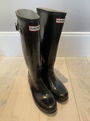 Hunter Black Wellies Size 8 UK / EU 42 Tall Gloss