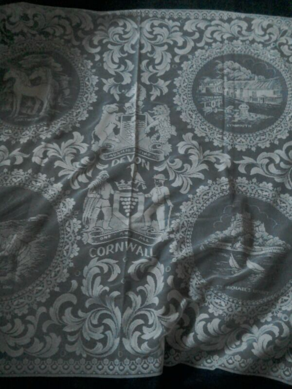 Devon & Cornwall tablecloth. Vintage. Lace style.