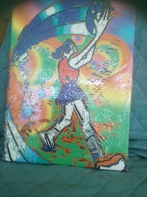 exaggerated Netball player on canvas