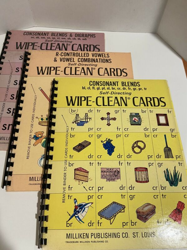 Vintage~Wipe-Clean Cards Booklet~12 Pages~ 1974~Lot Of 3~Phonics~Reading~