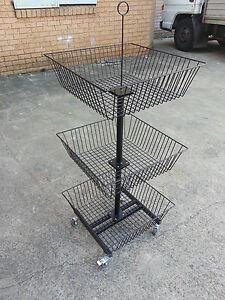 Portable display basket retail mobile stand fruit veg supermarket shelving