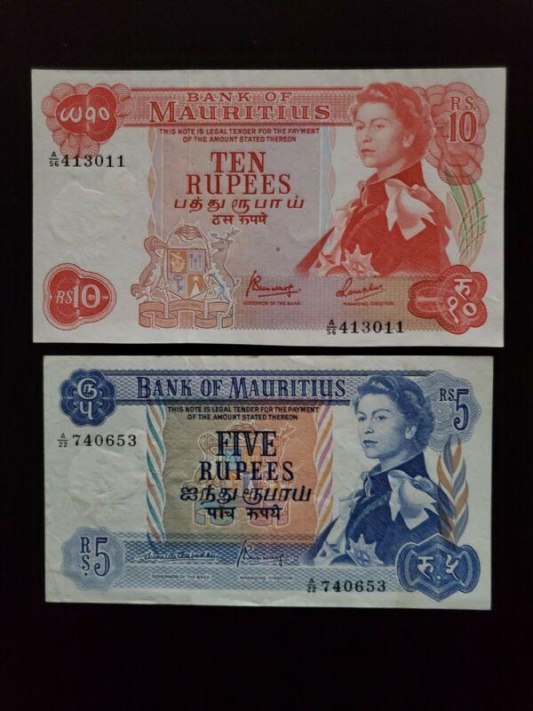 1967 Mauritius 2 Bank Notes 10+5 Rupees