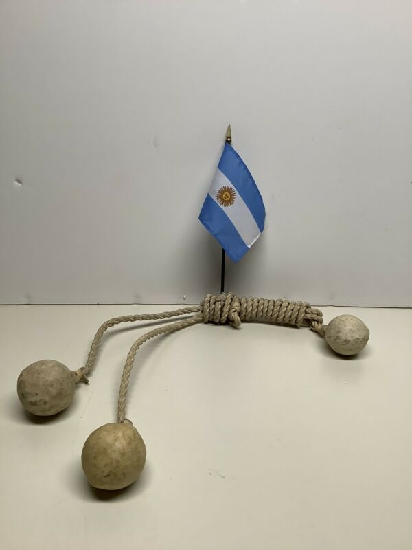 Argentinian Gaucho Leather & Stone Hunting Bolas - Boleadoras - Vintage 1957