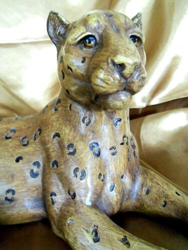 "Vintage Leopard Cat ceramic porcelain figurine statue 12"""
