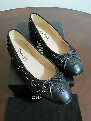 NIB Authentic CHANEL Black Leather Tweed Flat Shoes Ballerinas  8.5  39.5 Italy