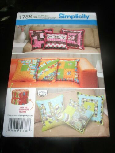 UNCUT Simplicity FIVE STYLES JELLY ROLL QUILTING PILLOWS Sewing PATTERN - #1788