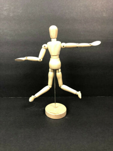 WOODEN ARTISTS MANNEQUIN MODEL ARTICULATED LIMBS FOR DIFFERENT POSES ON BASE 13""