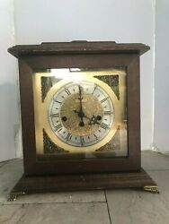 Vintage Bulova 12X12X8 Square Brown Wooden Clock Battery Powered