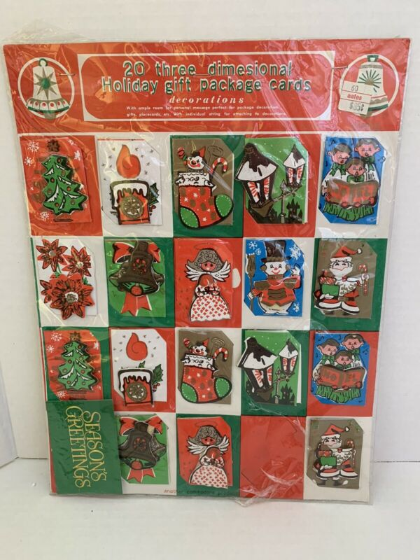 VTG 3-Dimensional Christmas Holiday Gift Package Cards Lot of 19 Commodore