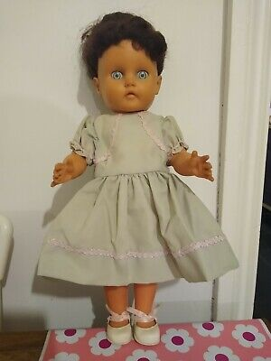 Beautiful Vintage Dark Haired Doll In Lovely Green Dress