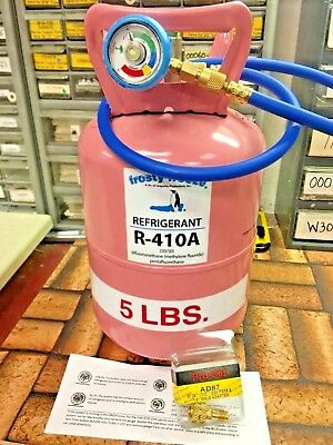 410A, R410a, R-410a, 5 Lb. Can Refrigerant Refill Kit Gauge Hose & Instructions , used for sale  Hartford