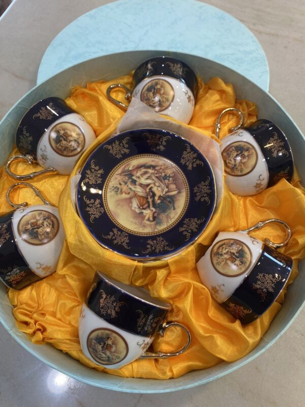 Antique Beautiful Porcelain 12 piece Tea Set Hand Painted Gold Rare item new box