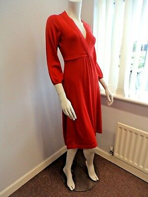 ex BODEN pure merino wool RED V neck knitted dress UK Size 16 L (LONG) NEW Neck Knitted Dress