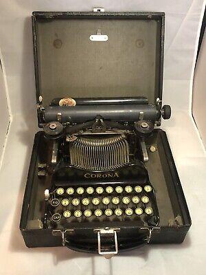 Antique  Corona Folding Model 3 Typewriter with Custom Wood Case