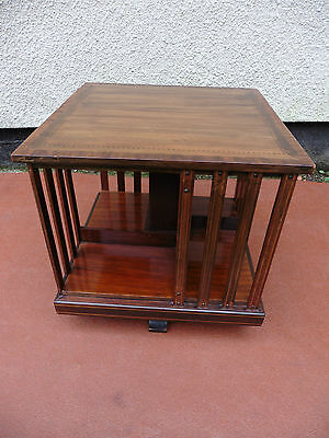 ANTIQUE EDWARDIAN INLAID MAHOGANY REVOLVING BOOKCASE, TABLE TOP SIZE, C1900 / 10