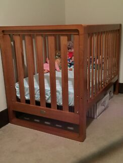 Baby Stuff! Bertini Timber Cot, Kmart shelves and Valco Double Pram