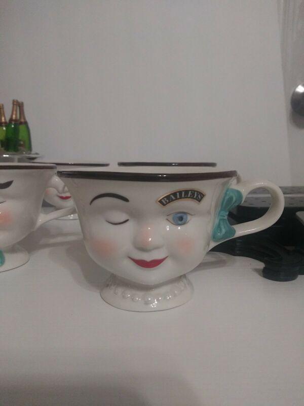 Baileys Irish Cream YUM Two Cups Winking Eye Face Mr & Mrs Coffee Mugs/Tea Cups