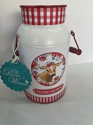 Pioneer Woman Iron Painted Gingham & Floral Hello Homegrown Milk Can Country Red