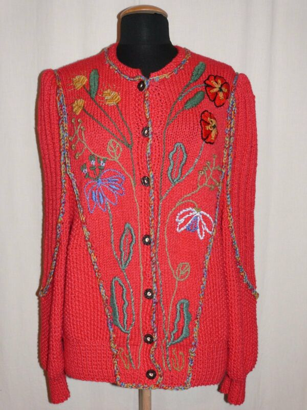 Beautiful Traditional Country Dirndl Cardigan Embroidery Red Handarbeit 42/44