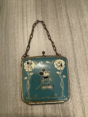 1930s Handbags and Purses Fashion Vintage 1930's Mickey, Minnie, and Pluto Metal Silver Inlay Toy or Change Purse $175.00 AT vintagedancer.com
