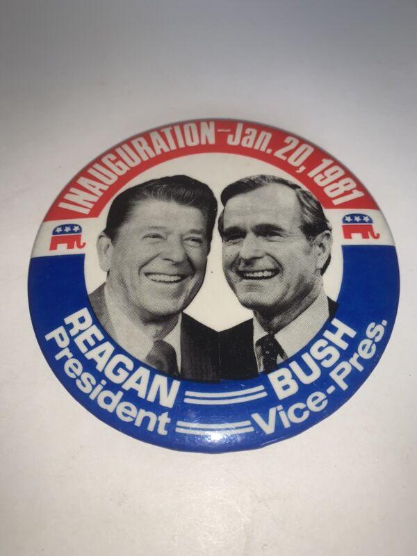 "1981 Ronald Reagan George Bush Inauguration 3 1/2"" Pin Pinback Button Badge"
