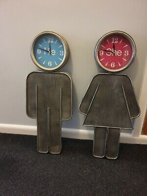 He & She Wall Clocks