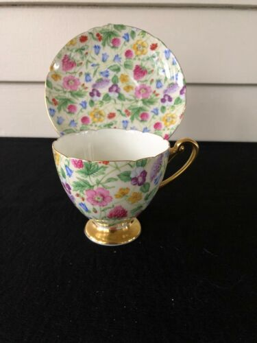 SHELLEY FOOTED CUP AND  SAUCER COUNTRYSIDE RIPON SHAPE