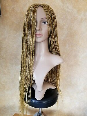 Fully Handmade 28'' to 30'' Gold Creme Mrcro Braid Twist Wig with lace Front  - Lace Gold Creme