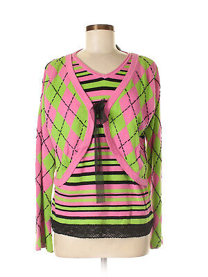 - Women Design Options Pink Green Argyle Striped Preppy Bead Sweater Size M