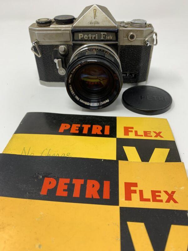 Petri Flex V VINTAGE Color Corrected Super SLR Camera 55mm f/2 W/ Instructions