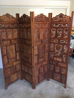 Elephant Hand Timber Carved Wooden Screen Room Divider