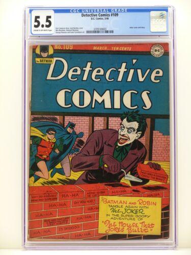 DETECTIVE COMICS #109 1946 CGC 5.5 FN- Golden Age DC Comics JOKER COVER & STORY!
