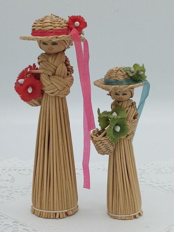 Vintage Straw Dolls Set Of 2 Handmade Woven Dolls Straw Hats Flowers Ribbons