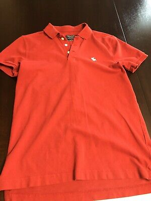 Abercrombie & Fitch Men's Red MOOSE Logo polo shirt Size Small