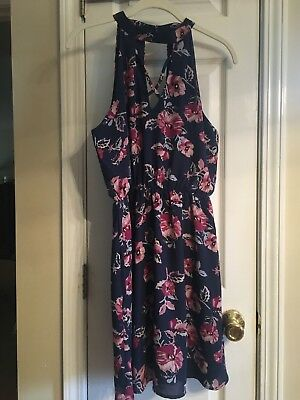 Nwt Francesca S Navy And Pink Floral Dress  Size Small  Strappy Dress  High Neck