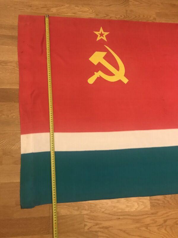 Authentic Big Flag Lithuania Lithuanian Soviet Socialist Republic USSR Vintage