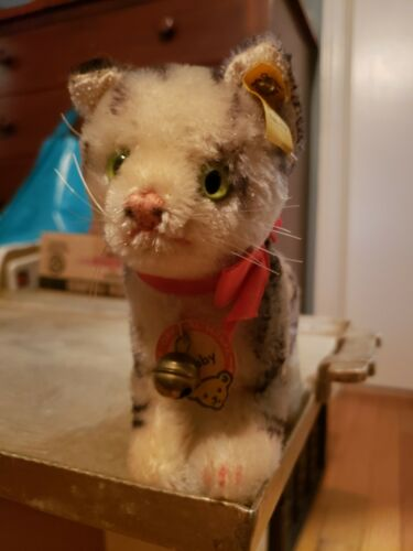 Antique vintage STEIFF TABBY CAT Original Tags kitty plush toy 2700 17