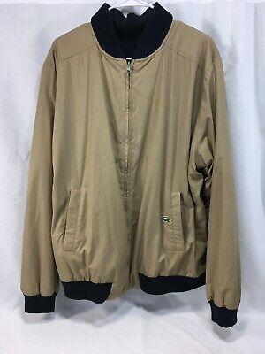 Lacoste Reversible Coat Jacket Bomber Mens XL Brown Blue Cotton Knit Alligator