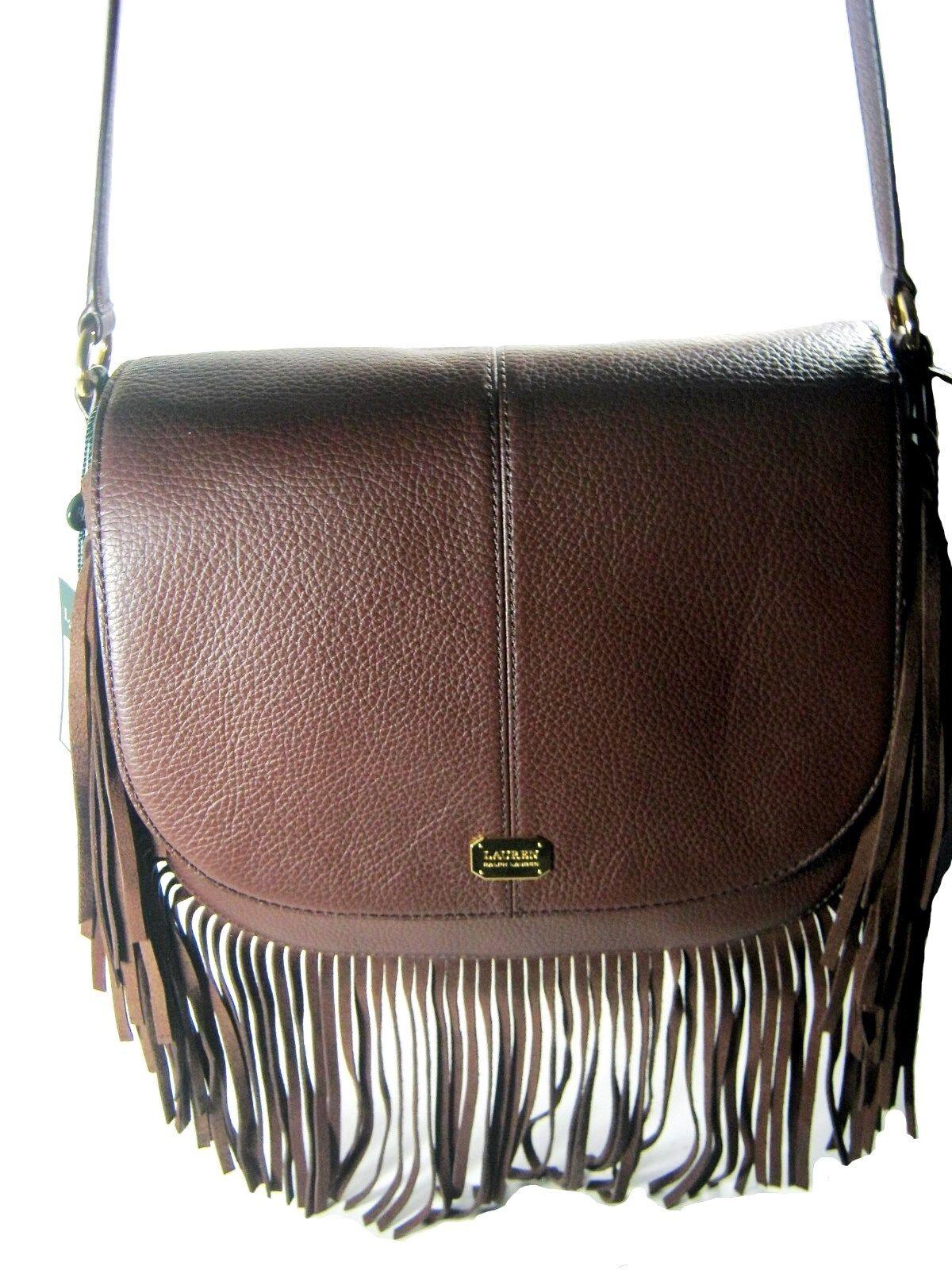 Shoulder Bag Ralph Lauren Cobden Saddle Bag Leather Brown With Fringe New