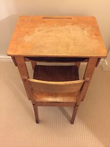 Wooden school desk and chair