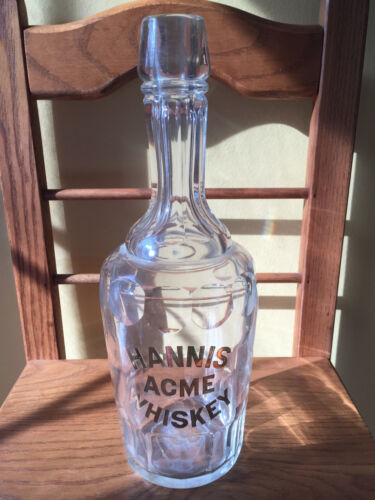 Rare HANNIS ACME WHISKEY Faceted Glass Bottle w/ Gold Lettering